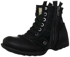 New Replay Clutch Black Mens Side Zip Mid Ankle Leather Army Boots Shoes UK 7-12
