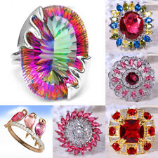 925 Silver Women Ruby Cocktail Fashion Wedding Jewelry Ring Size 6-10