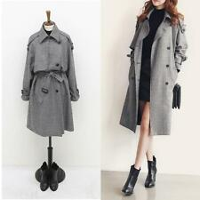 Womens Double-breasted Slim Long Jacket Lady French Belted Trench Waterfall Coat