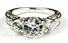 • SR254, Full Carat Cubic Zirconia w/Two 4mm CZ Accents Sterling Silver Ring