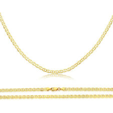 Men Women 14K Yellow Gold Chain 2.3mm Flat Mariner Link Chain Necklace