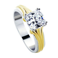 Women Silver 2ct Cushion Cut CZ 14K Yellow Gold Plated Two Tone Engagement Ring