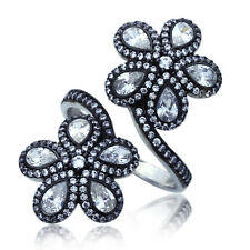 Women Sterling Silver Rhodium Plated, CZ Flower Womens Adjustable Ring
