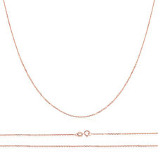 Men Women 14K Rose Gold Chain 1mm Cable Chain Necklace