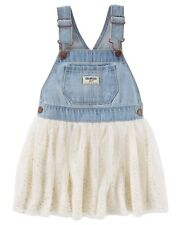 New OshKosh Ivory Sparkle Tulle Jumper Dress Overalls NWT  2t 3t 4t 5T Girl
