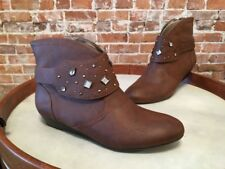 Libby Edelman Henson Brown Studded Removable Harness Ankle Boot NEW