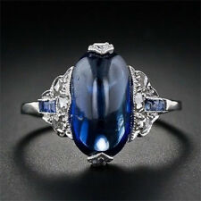 925 Silver Women Jewelry Blue Sapphire Engagement Wedding Gift Ring Size 6-10