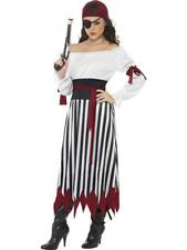 Ladies Black and white  Pirate Fancy Dress Costume