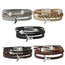 Woman Multilayer Pearl Beads Leather Magnetic Bracelet Bangle With Charm