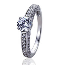 Women Silver Rhodium Plated 1ct Stunning Vintage Solitaire Engagement Ring