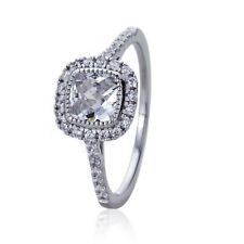 Women Silver Rhodium Plated 1.25ct Square CZ Halo Solitaire Engagement Ring