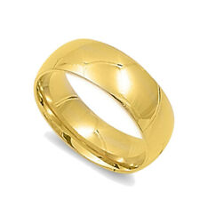 Men Women 7MM Stainless Steel Gold Tone Domed Classic Comfort Fit Wedding Band