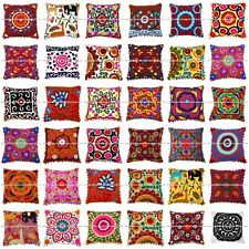 "Indian Suzani Cushion Cover 16"" Uzbek Cotton Mandala Pillow Shams Case Bohemian"