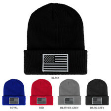 BLACK WHITE American Flag Embroidered Patch Ribbed Cuffed Knit Beanie -FREE SHIP
