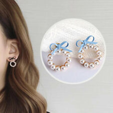 Women Bow Tie Geometry Lovely Earring 1Pcs Round Pearl