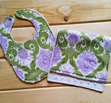 Handmade Baby Girl Floral Bibs and Burp Clothes - Soft Minky - Toddler Bib, Gift