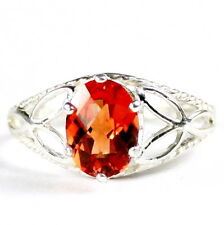 • SR137, Created Padparadsha Sapphire, 925 Sterling Silver Ladies Ring -Handmade