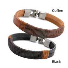 Bracelet New Surfer Men's Vintage Hemp Wrap Leather Wristband Cuff Black Brown