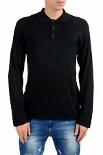 Armani Collezioni Silk Black Men's Polo Pullover Sweater Size S M L XL 2XL