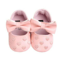 NEW Baby Girl Pink Hearts Bow Leather Mary Jane Crib Shoes 0-6 6-12 12-18 Months