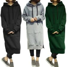 Women's Long Sleeve Loose Casual Plus Size Sweatshirt Hoodies Long Maxi Dress