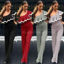 Women One Shoulder Jumpsuit Ruffled Wide Leg Pants Party Romper Playsuit E5A0