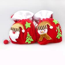 Red Christmas Santa Gift Bags Flannelette Candy Pouch Xmas Ornaments