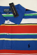 Polo Ralph Lauren Red Yellow Striped Cotton Mesh Blue Shirt $95 w/ Pony XLT NWT