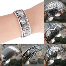 Tibetan Silver Plated Elephant Tibet Totem Bangle Jewelry Cuff Wide Bracelet*