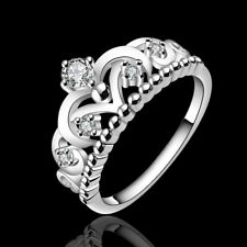 925 Silver Plated Rings Jewelry Finger Band Ring Gift Crown Present Princess