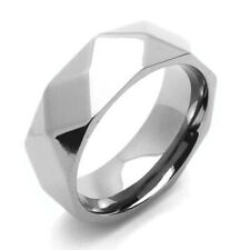 Men Women 8MM Comfort Fit Titanium Wedding Band Faceted Dome Ring