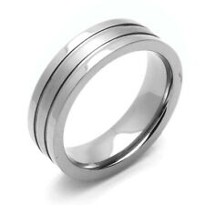 Men 6MM Comfort Fit Titanium Wedding Band Satin Finish Center Grooved Ring