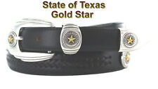 "NEW TEXAS GOLD STAR STATE SEAL MEN'S BLACK LEATHER CONCHO BELT 1 1/4 "" WIDE NWT"