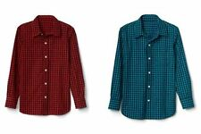 Gap Kids Boys Shirt 6 7 8 10 Gingham Plaid Red Green Teal Long Sleeve Cotton New