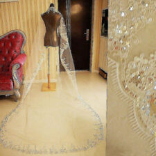 2017 Long White/Ivory Lace Wedding Veil Sequins Cathedral Bridal Veils Formal
