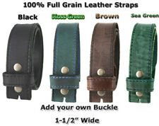 "NEW ONE PIECE 100% FULL GRAIN LEATHER BELT STRAPS 1 1/2"" WIDE FOUR COLORS NWT"