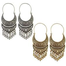 1 Pair Ethnic Drop Tassel Dangle Earrings Moon Shape Piercing Stud Earrings