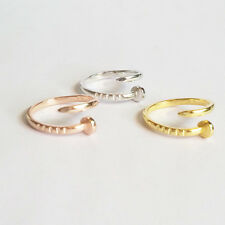 Silver Gold Rose Plated Retro Bent Nail Adjustable Finger Ring in Gift Bag/Box