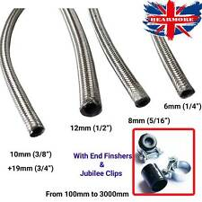 Braided Stainless Steel Fuel Hose Line & CLIPS FINISHERS Pipe Metal Flex SS Oil