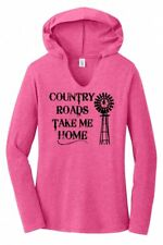 Country Roads Take Me Home Ladies Hoodie T-Shirt Country Music Graphic Tee