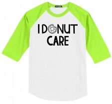 I Donut Care Funny Mens Raglan Jersey T-Shirt Food Humor Doughnut Graphic Tee X1