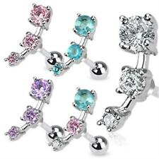 Tragus Piercing Helix Ear with 3 Zirconia Crystals Cartilage Ear Piercing