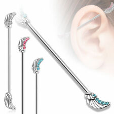 Industrial Piercing Wing with Crystals Barbell Stainless Steel Ear Piercing