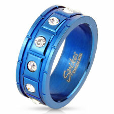 Men's Women's Ring Blue IP Stainless Steel with Grooves and 12 CZ CRISTALS Inset