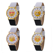 Fashion Wrist Watch Lovers Smiling Face Quartz Watch Woman Leather 1 Pcs