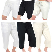 Womens Linen Shorts 3/4 Length Trousers Shorts Ladies Casual Knee Short Cropped