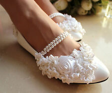 White pearl anklet silk rose lace flowers Wedding shoes flat ballet Bridal