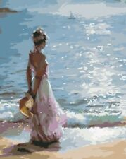 """Paint By Number DIY Acrylic kit Oil Painting On Canvas 16X20"""" Seaside girl 2296"""