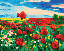 """16X20"""" Poppies sea Paint By Number DIY Acrylic kit Oil Painting On Canvas 2181"""