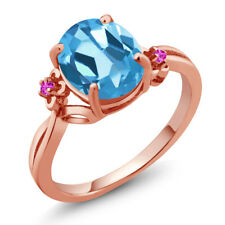 2.74 Ct Oval Swiss Blue Topaz Pink Sapphire 14K Rose Gold Ring
